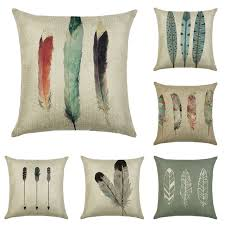 Decorative Pillows With Feather Design Adorable Cushion Cover Three Tail Feathers Linencotton Animal Design Pillow