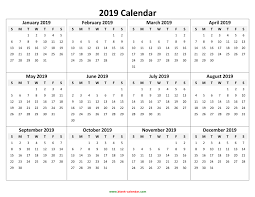 Calendar Formats Yearly Calendar 2019 Free Download And Print