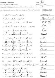 chapter 7 worksheet 1 balancing chemical equations key them and try to solve