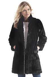 black mink signature knee length faux fur coat 1