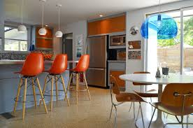 burnt orange bar stools. perfect bar midcentury modern eatin kitchen idea in dallas with stainless steel  appliances flat to burnt orange bar stools