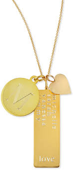 sarah chloe 14k gold plated cari 3 pendant necklace with initial multi name tag heart charm