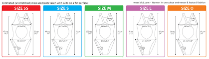 International Swimsuit Size Conversion Table Including