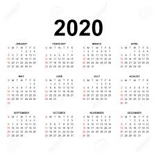 Calendar 2020 Template Holidays In Red Colors Week Starts Sunday