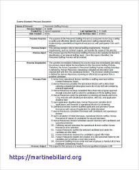 Business Process Description Template Business Process Documentation