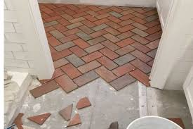 installing interior brick step 3 laying out interior pavertiles over cement board