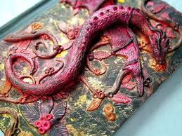 dragon journal polymer clay fantasy journal door itsdesignsbyjo