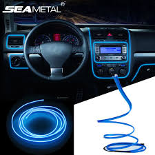 How To Install Lights In Car Interior 3m 5m Car 12v Led Cold Lights Flexible Neon El Wire Auto