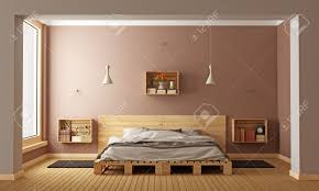 Pallet Bedroom Bedroom With Pallet Bed And Wooden Crates Used As Nightstands