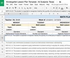 teacher lesson plan template plan template kindergarten all subjects w all texas teks standards
