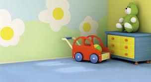 blue vinyl floor tiles in a child s playroom