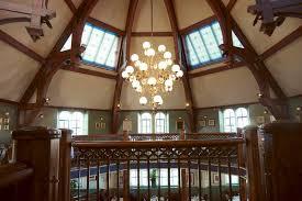 high ceiling long drop stairwell lighting