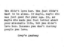 You Didn T Love Her Quotes Best Grey's Anatomy Hand Typed Vintage Typewriter Quote Etsy