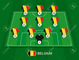 Soccer Lineups Soccer Field With The Belgium National Team Players Lineups