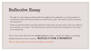 reflective essay ◦the sight of a kite sailing overhead recalls  reflective essay 2