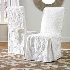 Product title sure fit stretch pique short dining room chair slipcover average rating: Amazon Com Sure Fit Matelasse Damask Dining Room Chair Cover White Furniture Decor