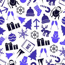 December Month Theme Set Of Icons Seamless Pattern Eps10 Buy This