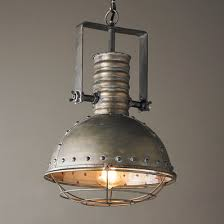 lighting industrial style. industrial caged pendant with rivets lighting style