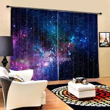 Curtain for the living room Gold 72 3d Gorgeous Dark Blue Galaxy Printed Polyester Blackout Custom Panels Curtain Beddinginncom Beautiful Living Room Curtains 3d Blackout Curtains Online Selling