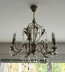 Kronleuchter Creme Gold Mit Glassteinen Lampe Deckenlampe