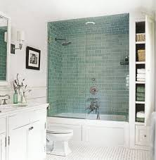 bath and shower in small bathroom. ideas witching small bathroom design with tub and shower using green ceramic wall tiles including clear bath in s