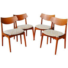 rare eric buck set four curved back teak dining chairs for funder schmidt madsen for