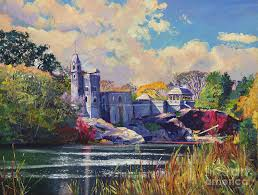 landscape painting belvedere castle central park by david lloyd glover