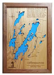 Amazon Com Cobbosseecontee Lake Maine Framed Wood Map