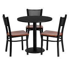 30 round black laminate table set with 3 grid back metal chairs with cherry wood seats