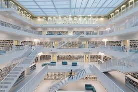 Library Photograph - Public Library Stuttgart - Modern Architecture And  Lots Of Books by Matthias Hauser