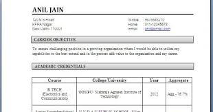Resume Format For Freshers Engineers Ece Menu And Resume