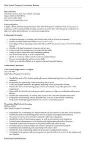 Youth Program Coordinator Resume Sample throughout After School Program  Resume