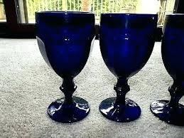 dark cobalt blue wine water glasses goblet rock libbey rocks