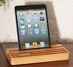 wood charging station with two usb ports