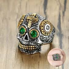 Mexican Large <b>Sugar</b> Skull with Green Eye Pendant Necklace ...