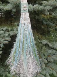 wiccan wedding. Handfasting Broom in Turquoise and White Wiccan Wedding Jump