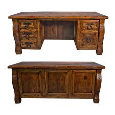 old wood desk w double drawers