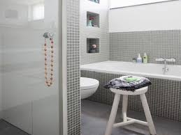 white and gray bathroom ideas. Attractive Modern Grey Bathroom Ideas With Rectangle Standart Tub Also White Toilet As Well Wooden Bath Seating In Small Room Designs And Gray