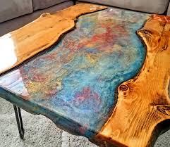 carved raw edge wood slab coffee tables