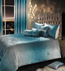 teal aqua shimmer 2 tone crushed velvet duvet cover luxury modern bedding range or curtains