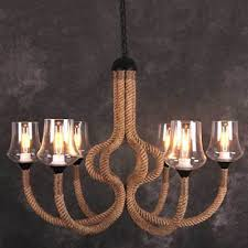 industrial 37 w large chandelier with clear glass shade in rope style 6