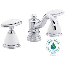 widespread 2 handle low arc bathroom faucet in polished chrome