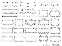 手書きのラインフレームセットのイラスト素材 42673593 Pixta