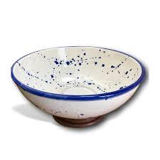 Ceramic Bowl Designs Handmade Blue White Splatter Ceramic Bowl With Wood Base Kauri Design