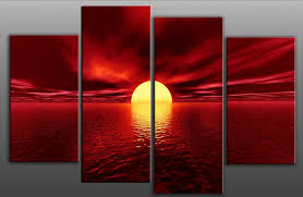 large red toned seascape canvas artwork unique design 4 pieces multi panel split canvas completely ready to hang hanging cord attached hanging template