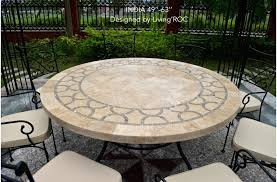 outdoor dining table large round mosaic