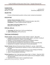 Stunning Ideas Early Childhood Education Resume Special Education