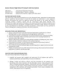 Personnel Management Job Description Junior Senior High School Principal S Job Description
