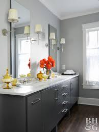 Charming Ash Gray Painted Vanity With Orange Flowers