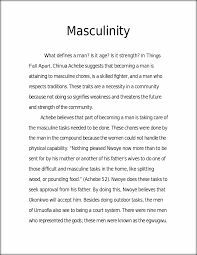 essay things fall apart music essay writing essay writing music  things fall apart essay masculinity what defines a man is it this preview has intentionally blurred